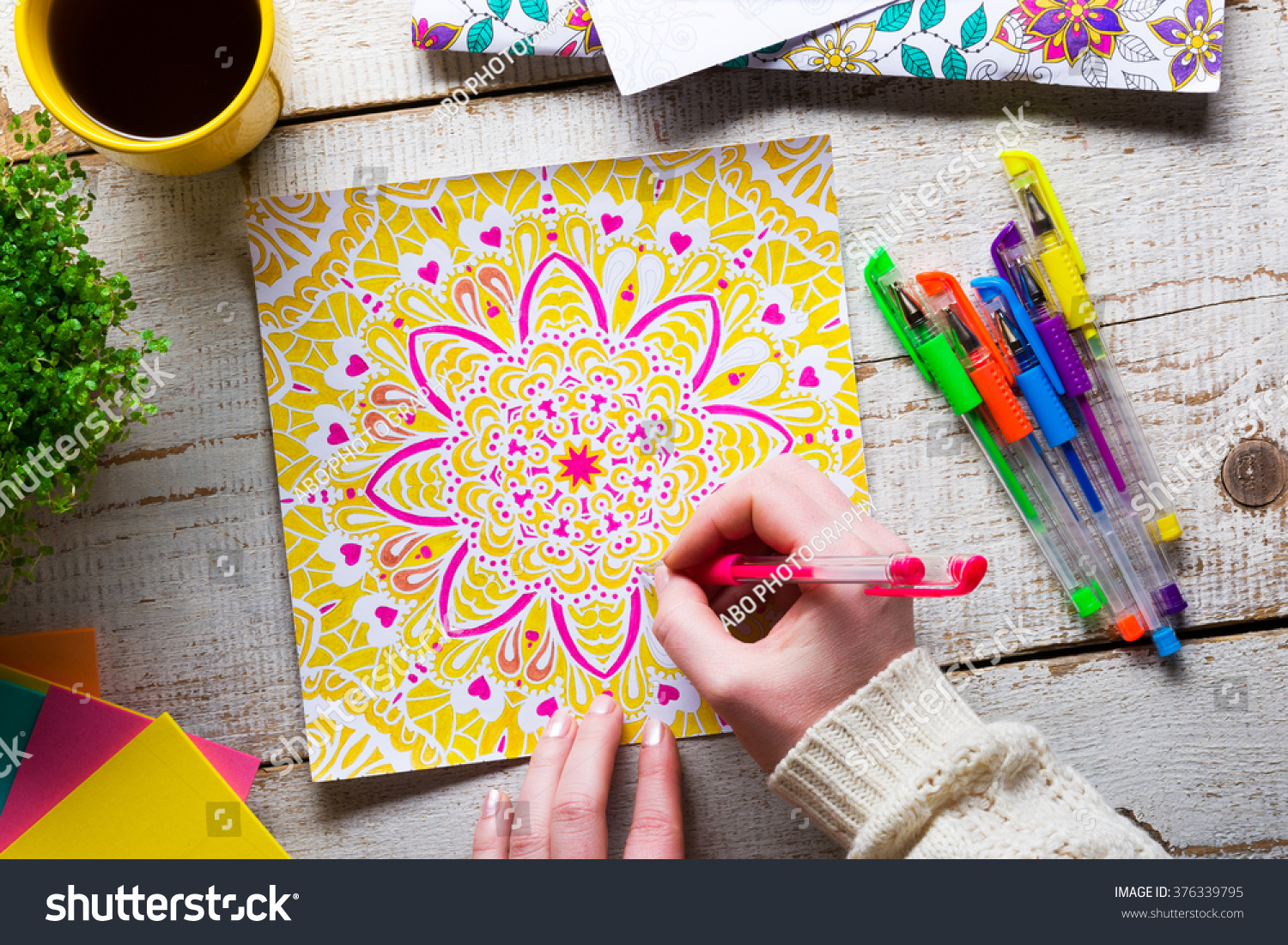 Woman Coloring Adult Coloring Book New Stock Photo 376339795