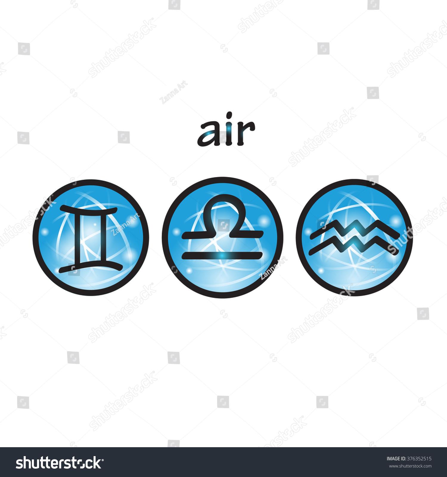 Zodiac Symbols Air Element Libra Gemini Stock Vector 376352515
