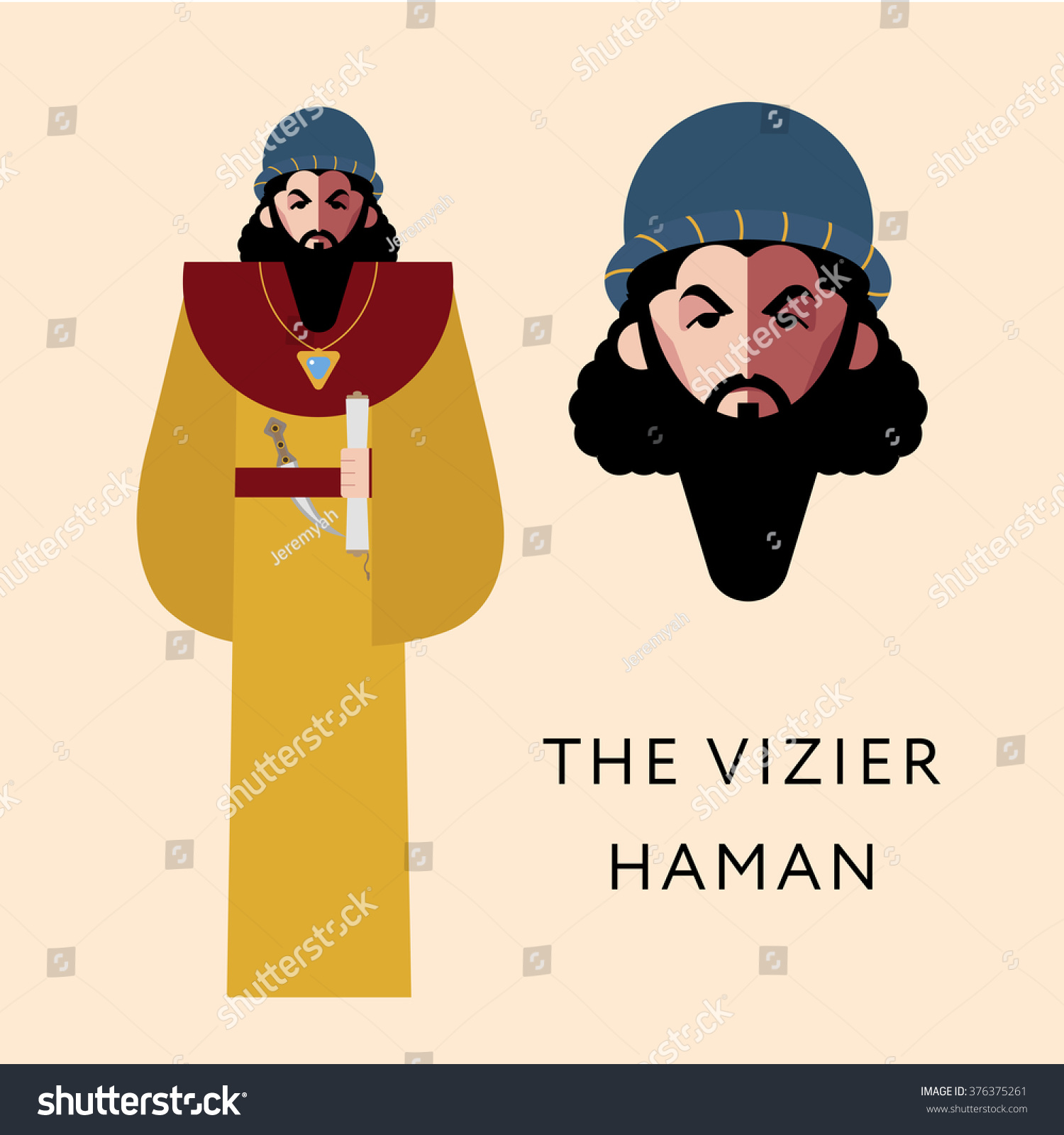flat vector bible character jewish religion stock vector 376375261