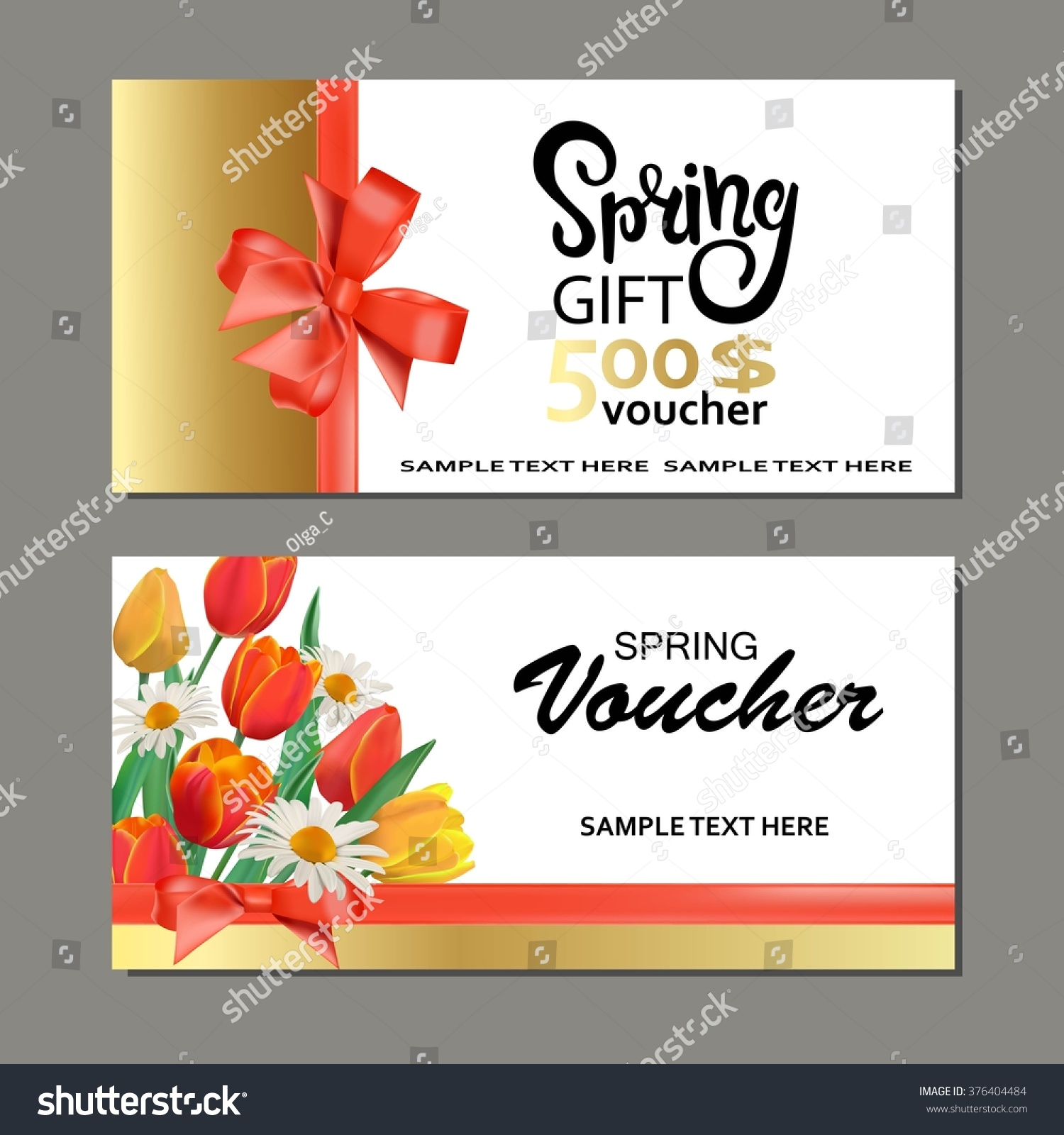 Spring Gift Cards Vouchers Templates Stock Vector HD (Royalty Free ...