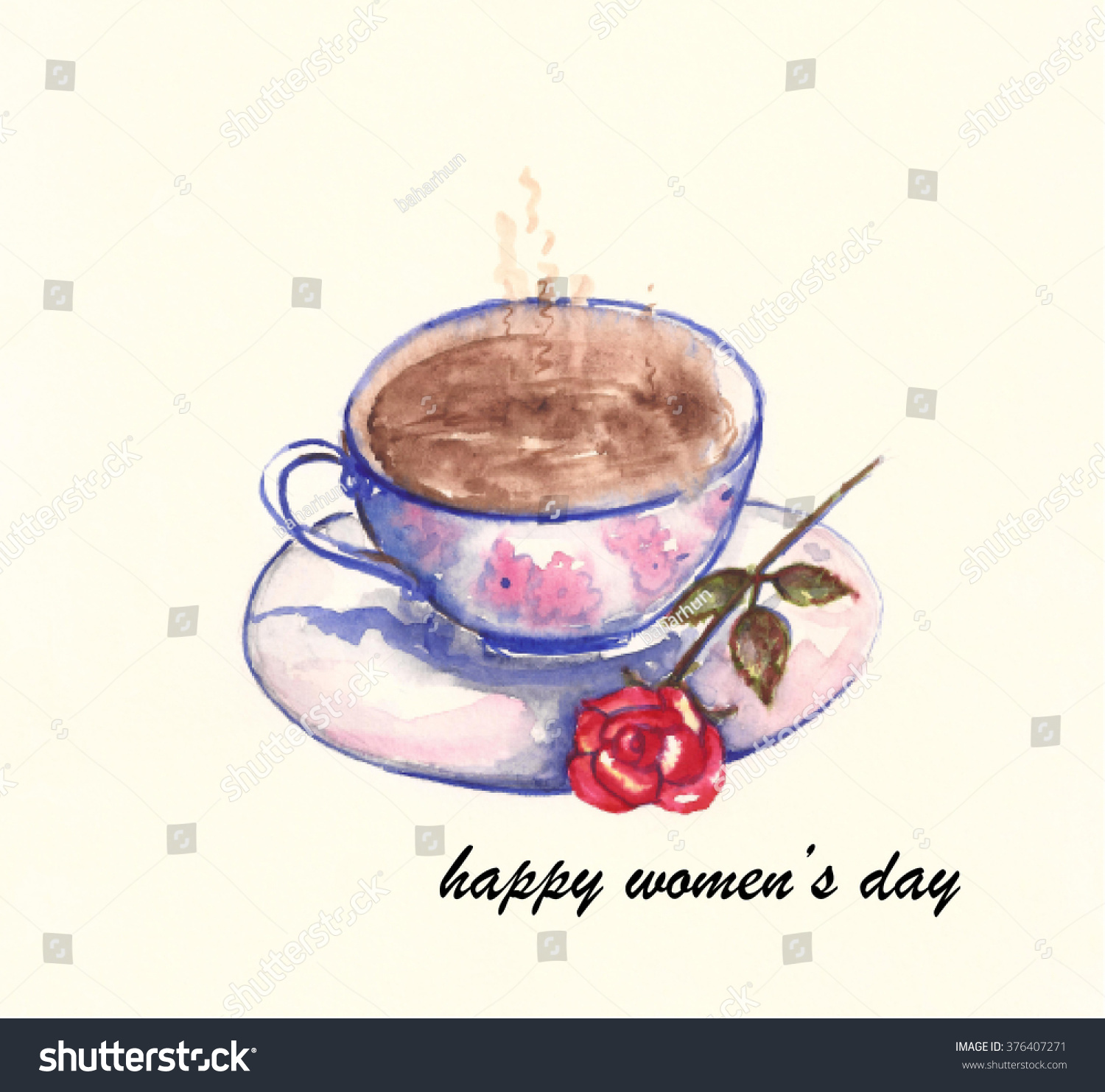 Happy womens day turkish coffee cup stock vector 376407271 happy womens day with turkish coffee cup and red rose watercolor painting buycottarizona Image collections
