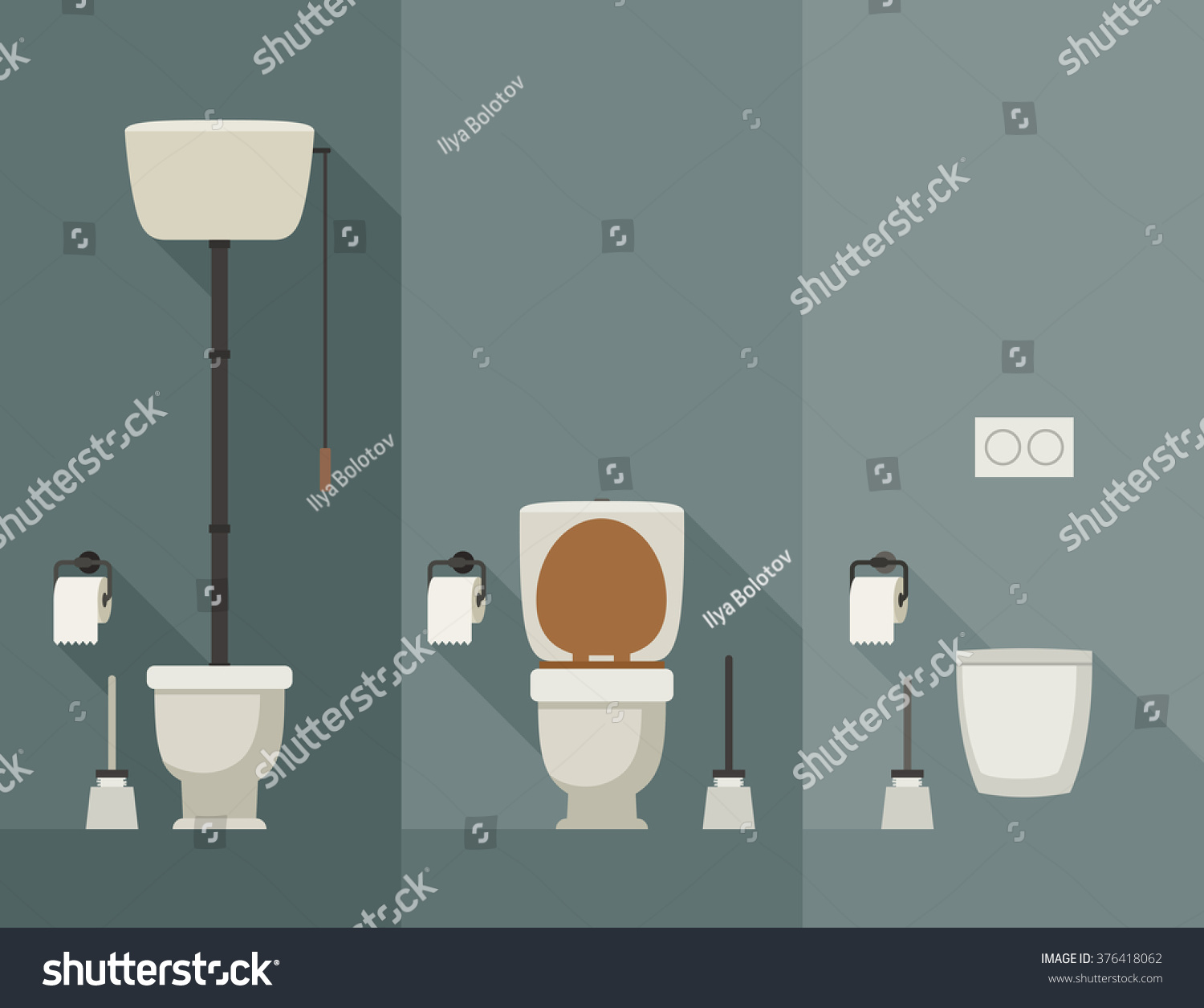 Toilets Long Shadow Flat Style Vector Stock Vector (Royalty Free ...