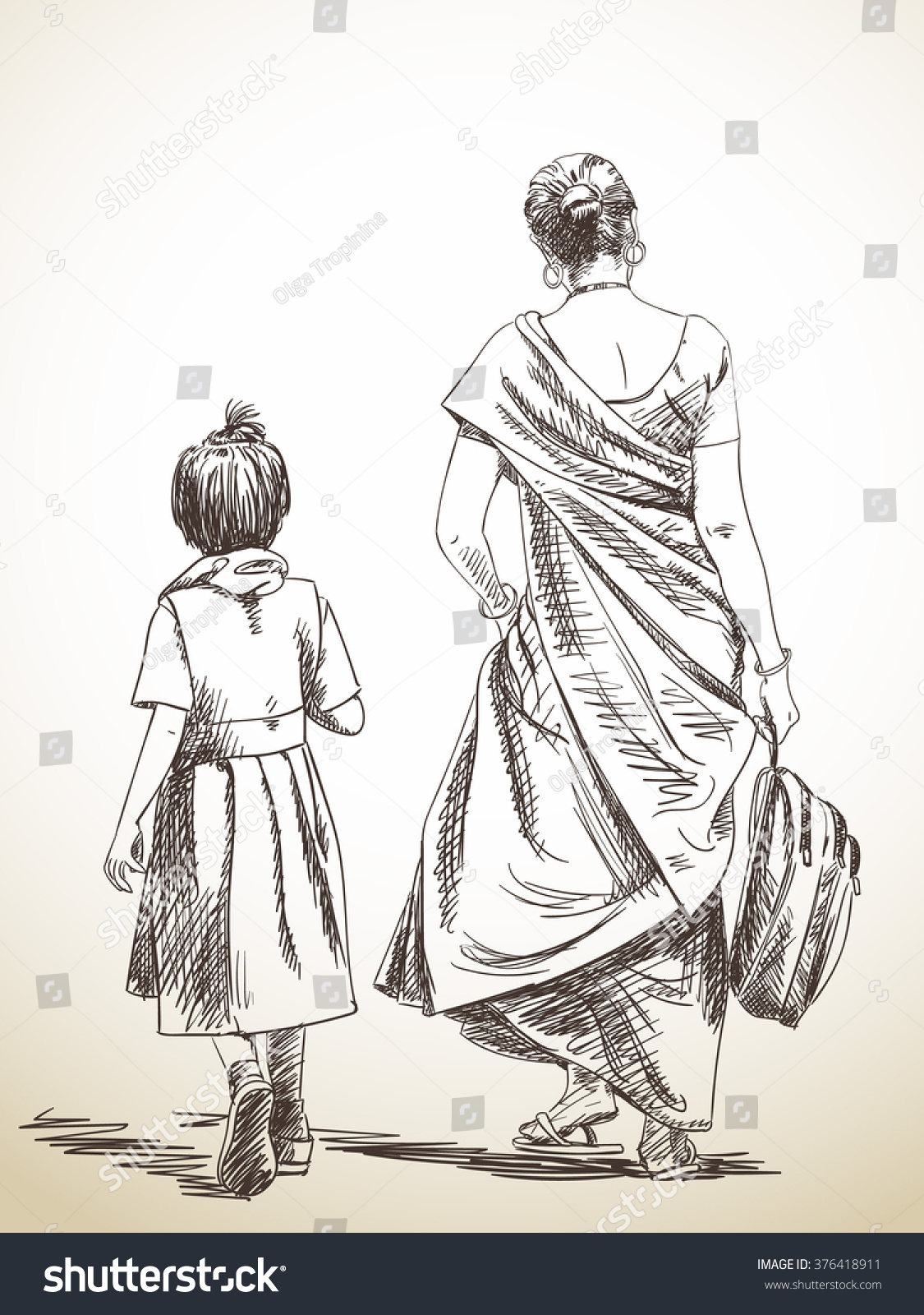 Sketch of walking mother and daughter from school hand drawn illustration