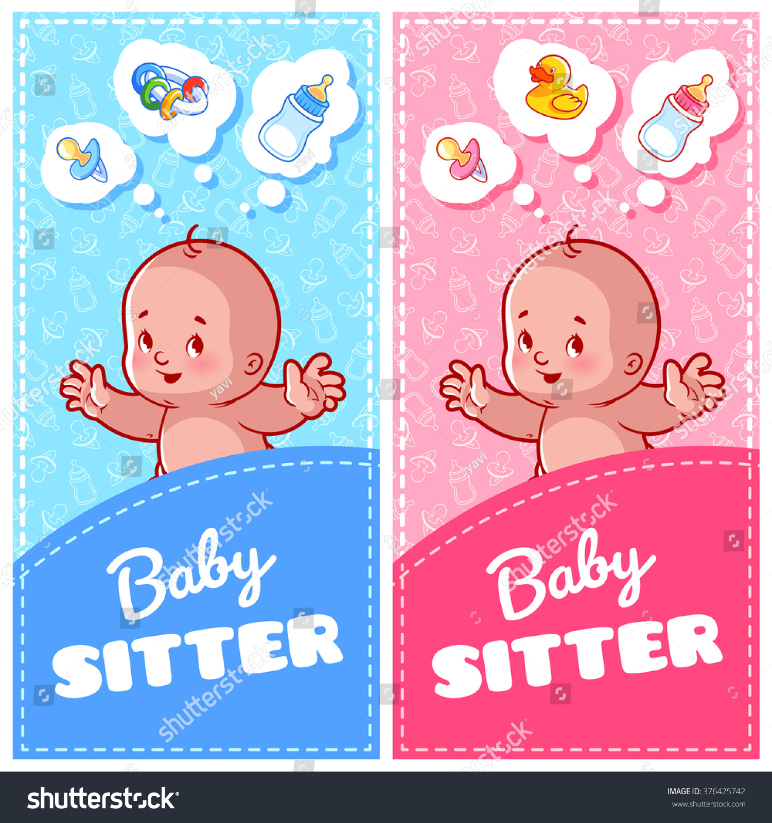 two vertical flyer babysitter cute toddler stock vector  two vertical flyer of babysitter cute toddler and baby toys two vertical orientation banner