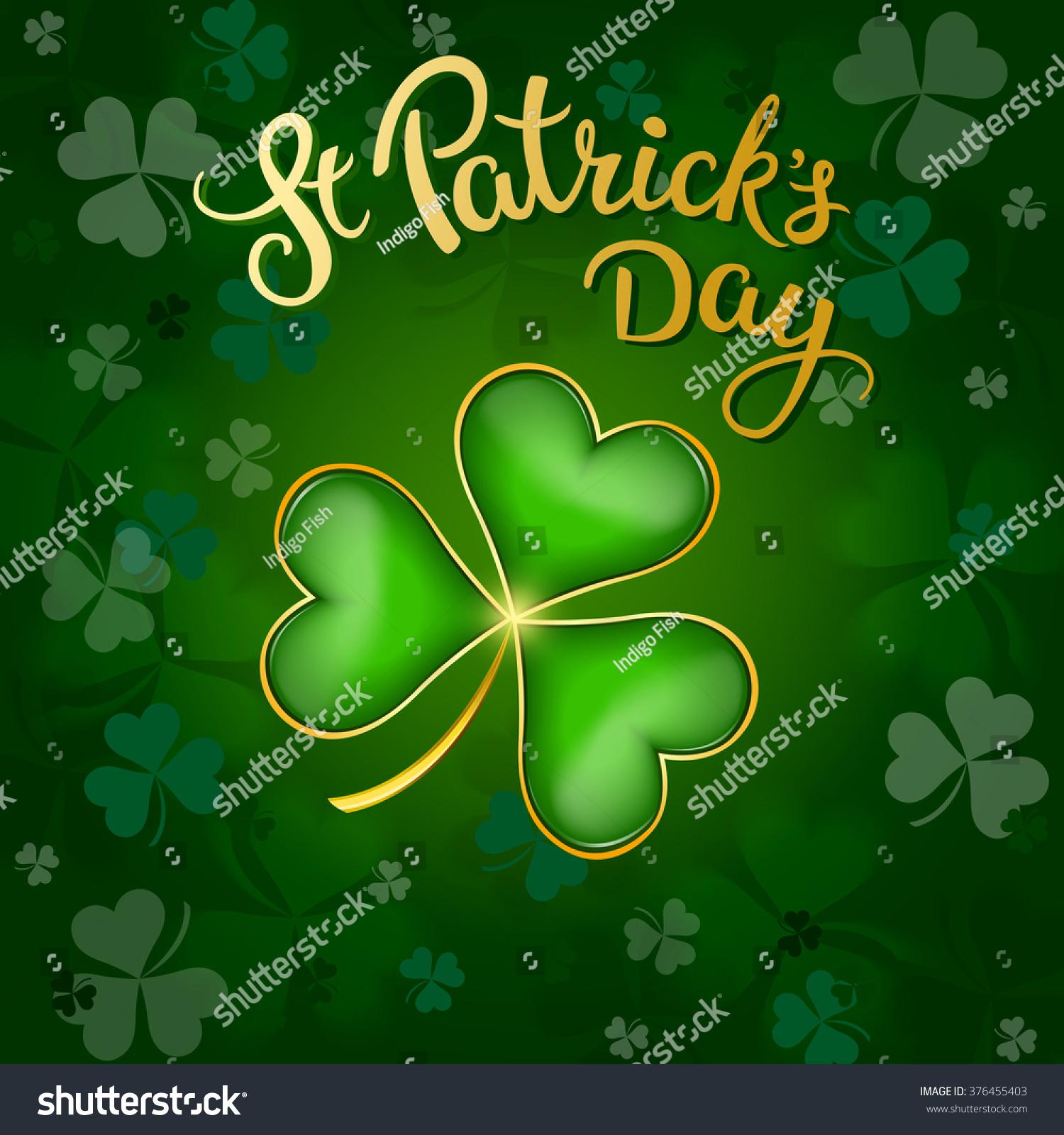 clovers original lettering st patricks day stock vector 376455403