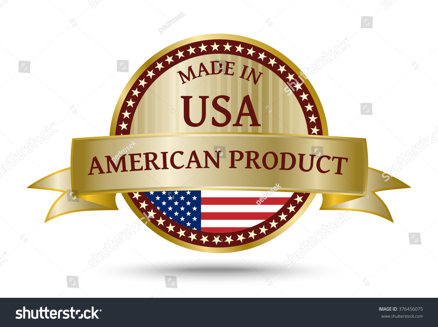 usa flag icon badge america united states golden vector shutterstock official