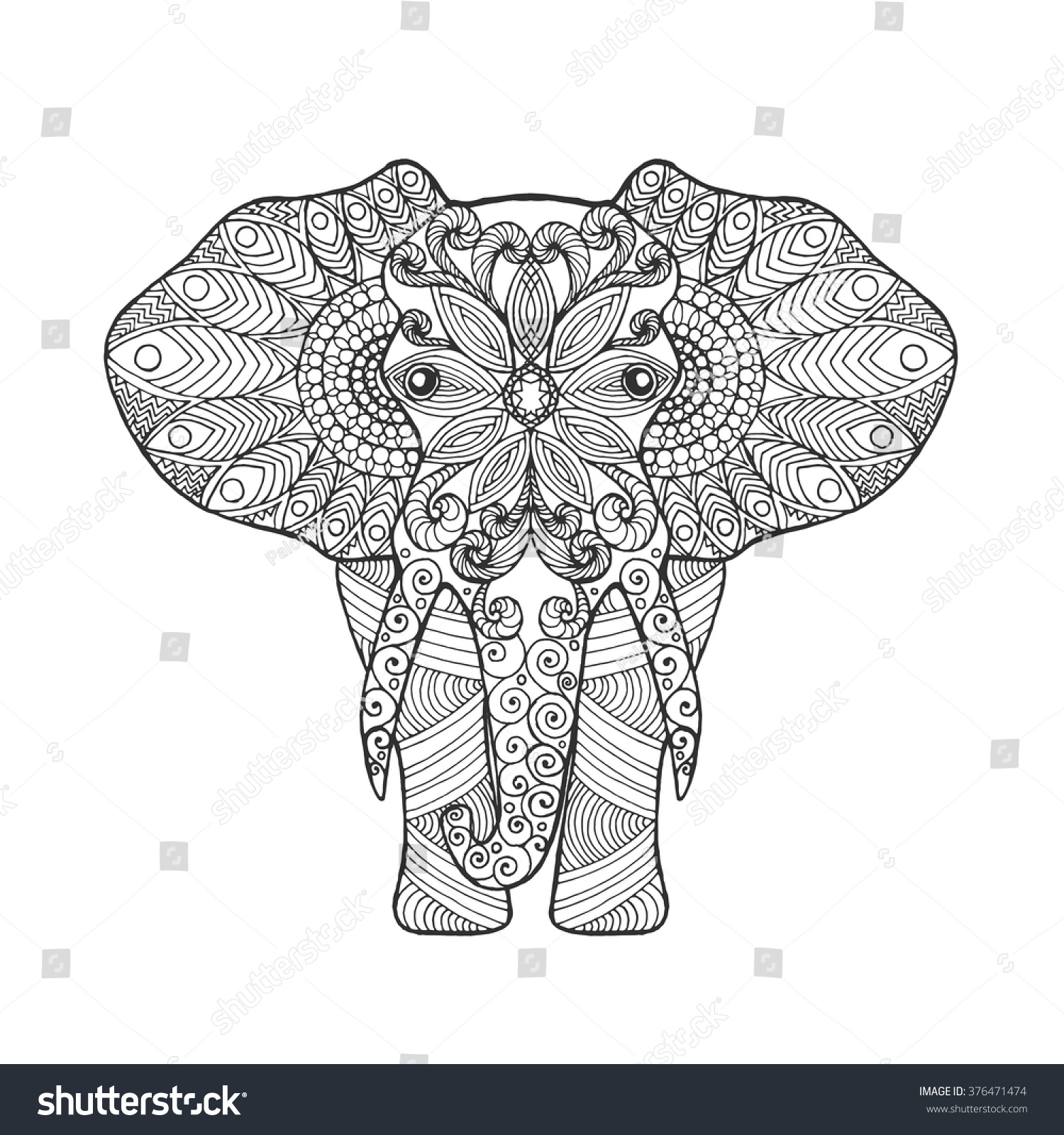 Royalty-free Elephant. Adult antistress coloring… #376471474 Stock ...