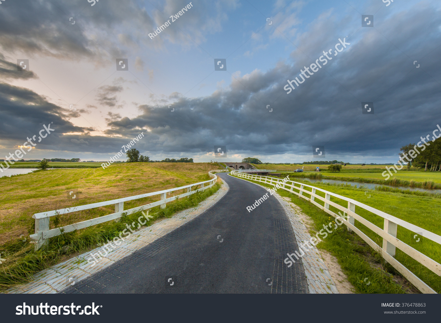 Curved Asphalt Country Road Dutch Countryside Stock