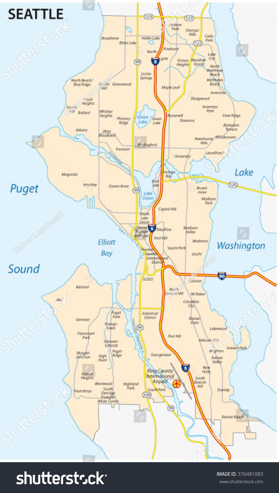 Seattle Road Neighborhood Map Stock Vector 376481083 Shutterstock