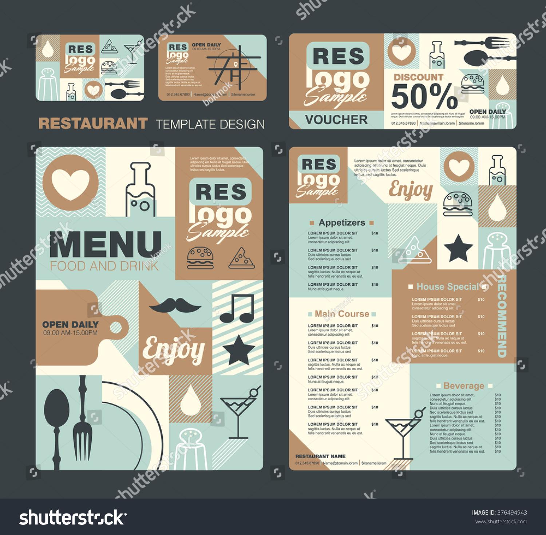 Big set restaurant cafe menu designvoucherbusiness stock