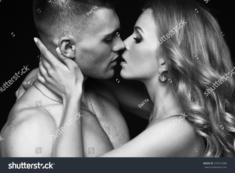 fashion studio photo beautiful sexy couple stock photo (royalty free