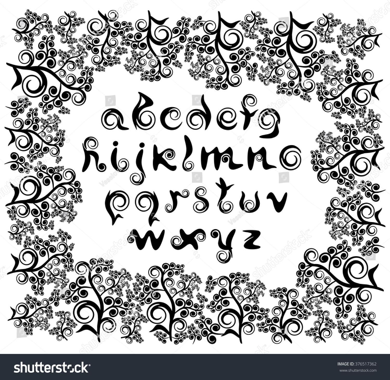 Decorative Italic Lowercase Letters Roman Alphabet Stock Vector
