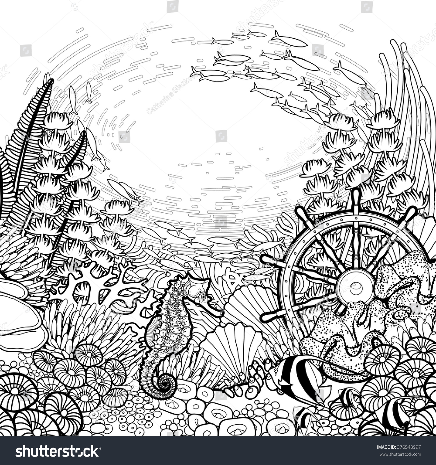 graphic coral reef with sea horse ocean fish and sunken ship helm drawn in line