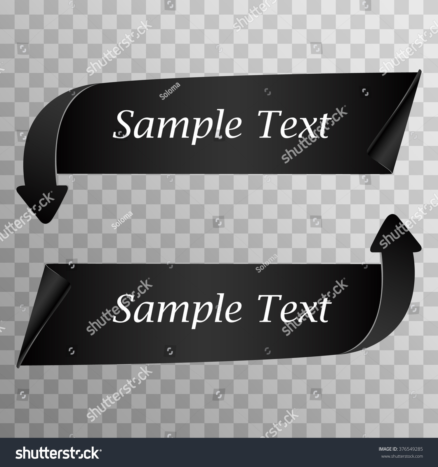 Really Detailed Curved Arrows Banner Black Stock Vector ...