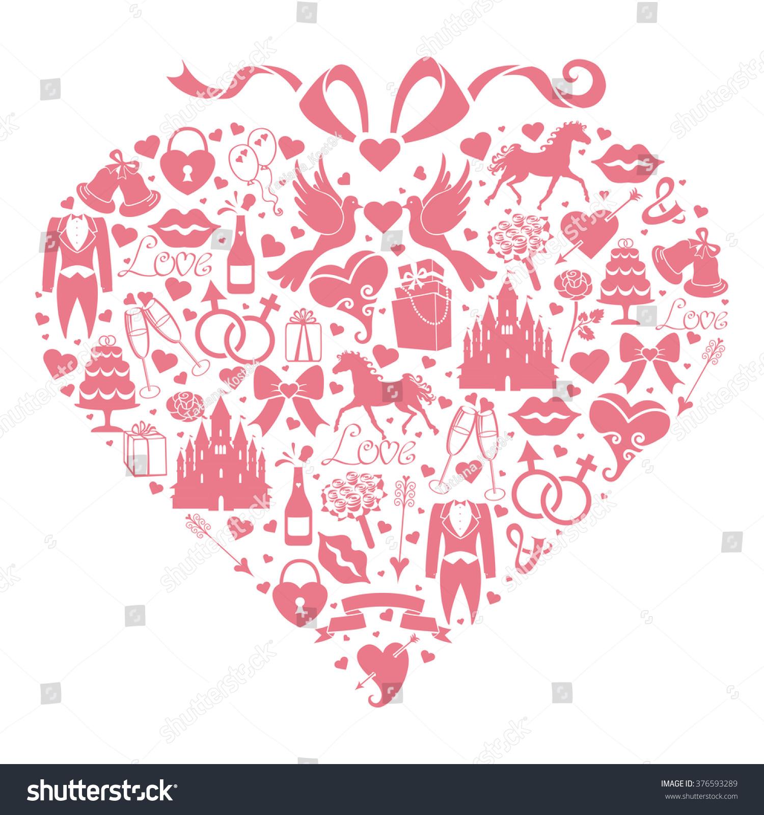 Wedding Invitation Card Wedding Icons Heart Shapebride Vintage Stock ...