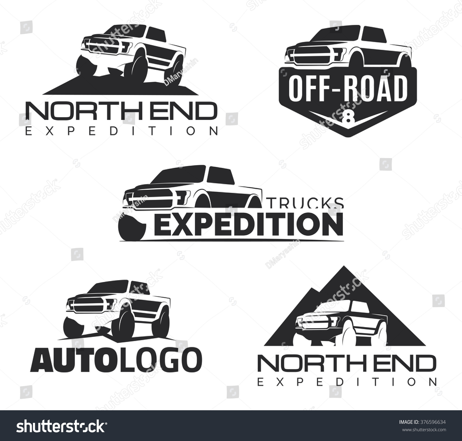 Set Modern Suv Pickup Emblems Icons Stock Vector 376596634