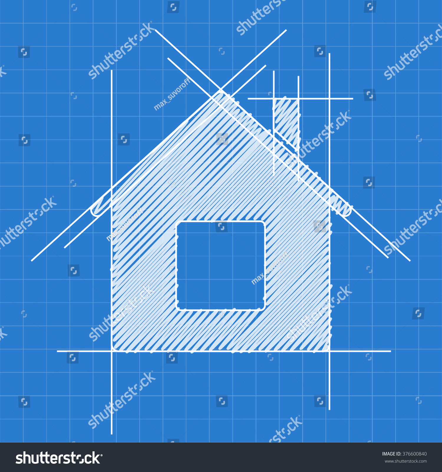 House blueprint logo sketch stock vector 376600840 for Where to print blueprints