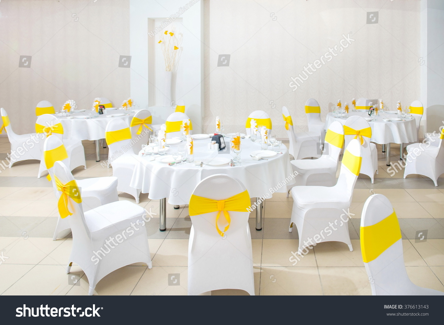 white interior restaurant white interior yellow stock photo