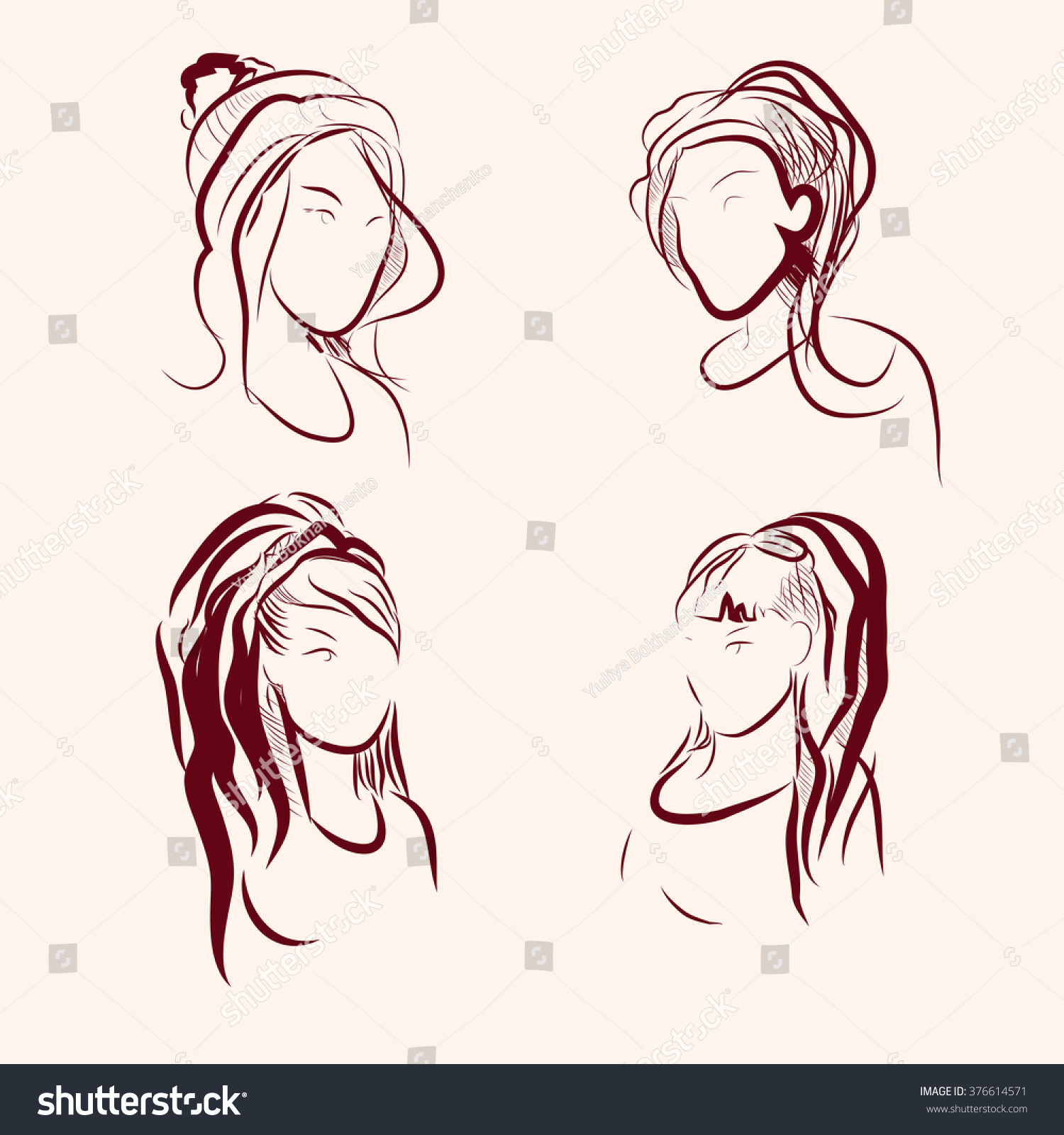 Sketch of womens hairstyles