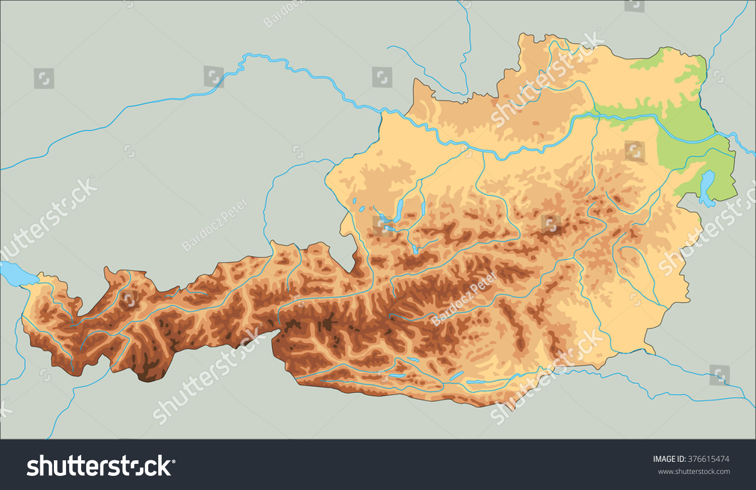 High Detailed Austria Physical Map Stock Vector - Physical map of austria