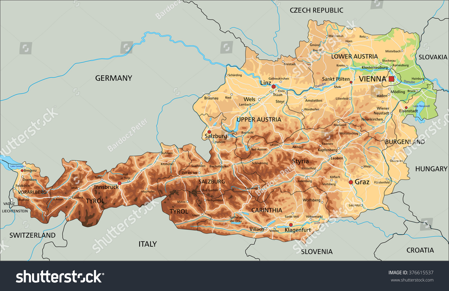 High Detailed Austria Physical Map Labeling Stock Photo Photo