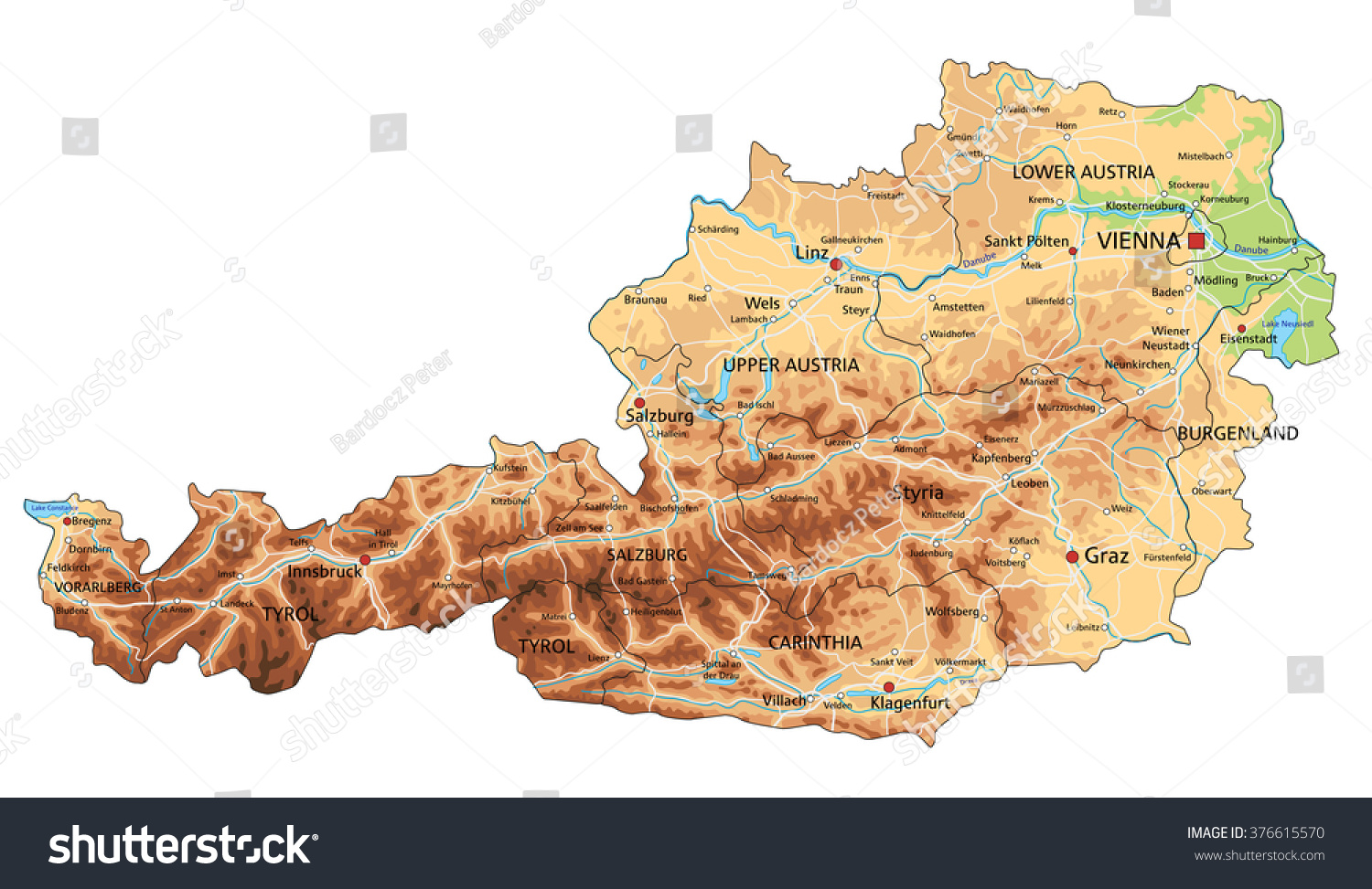 Picture of: High Detailed Austria Physical Map Labeling Stock Vector Royalty Free 376615570