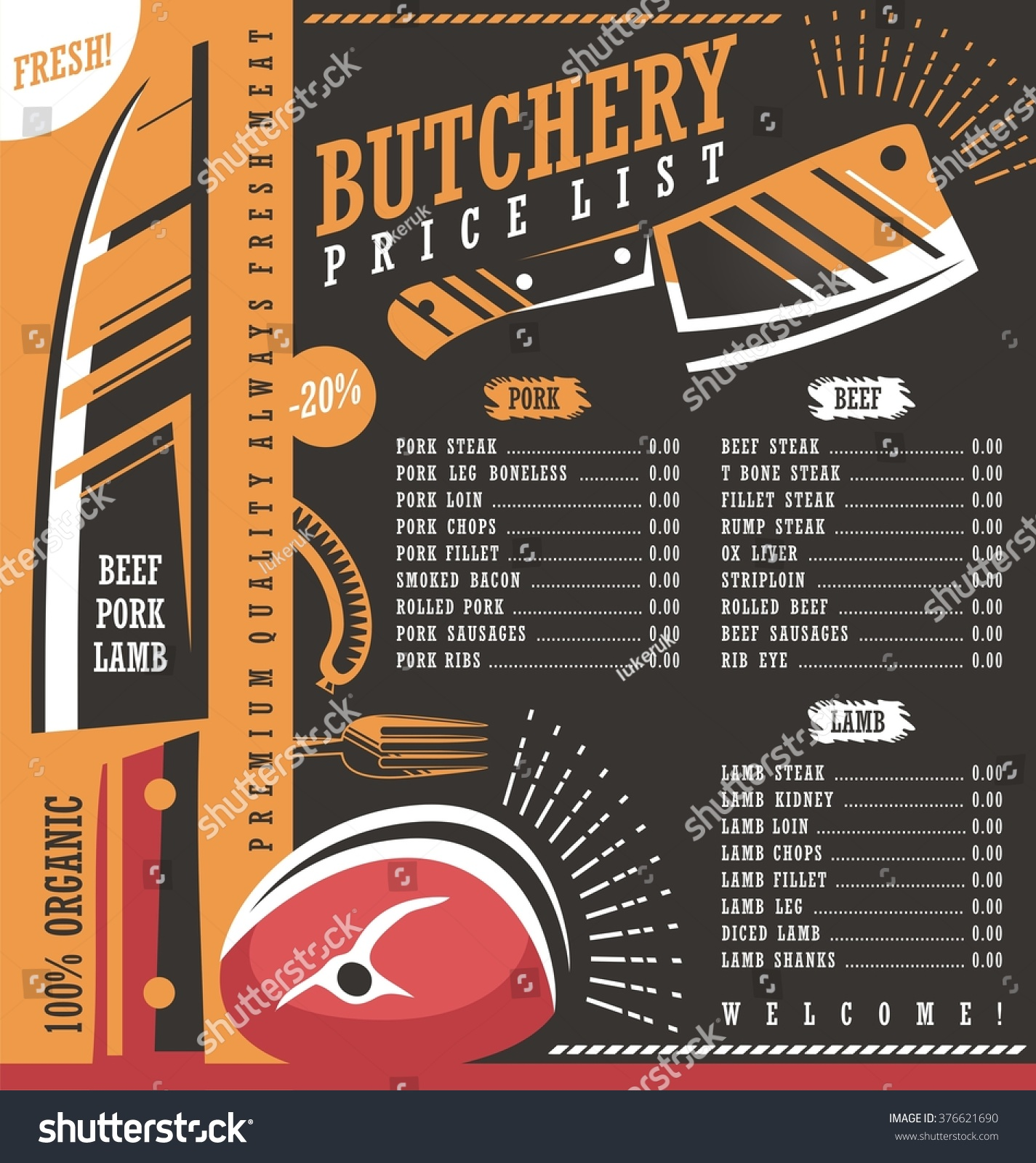 butcher shop price list vector design stock vector royalty free