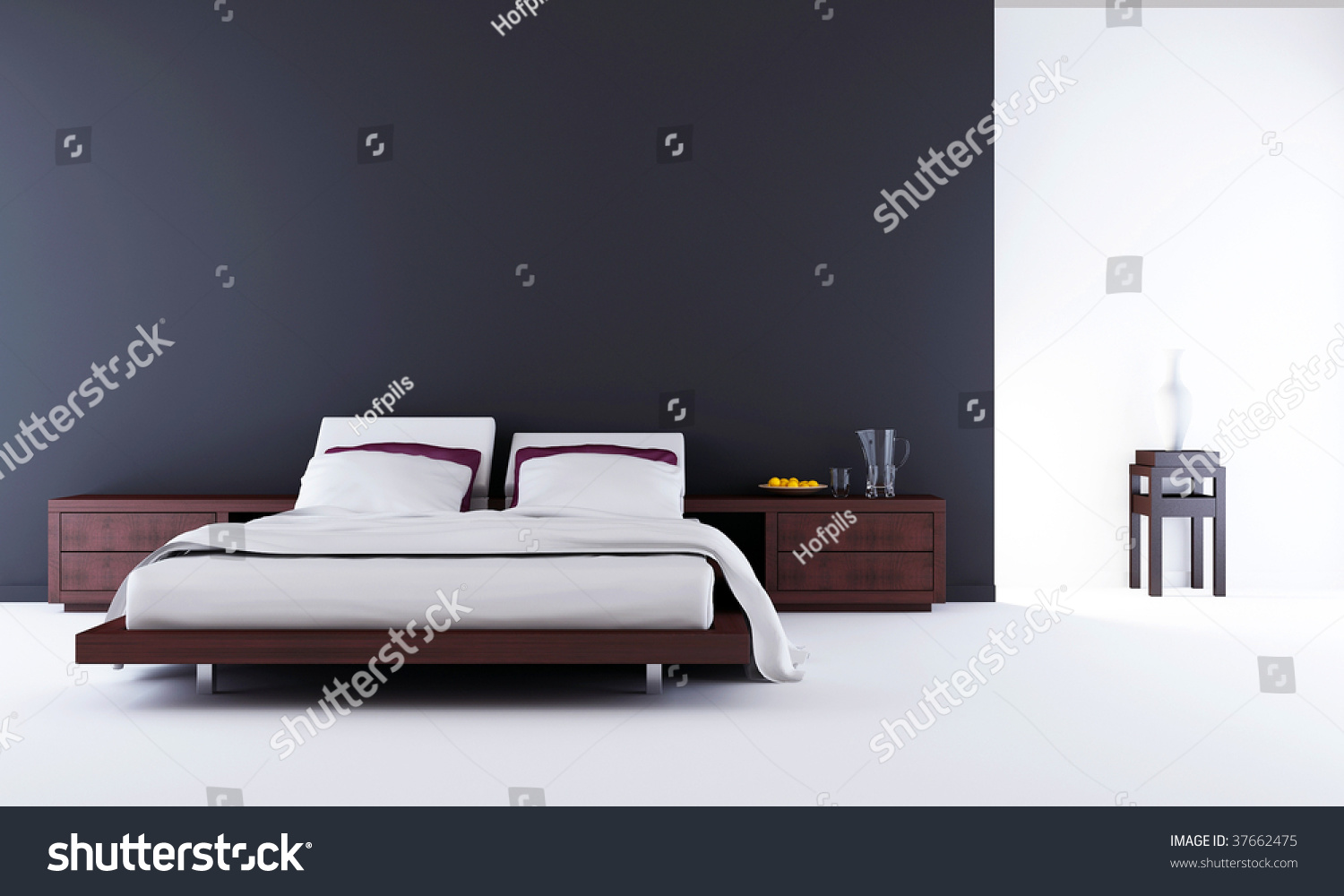 Living Room Setting - Bed To Face A Blank Wall Stock Photo ...
