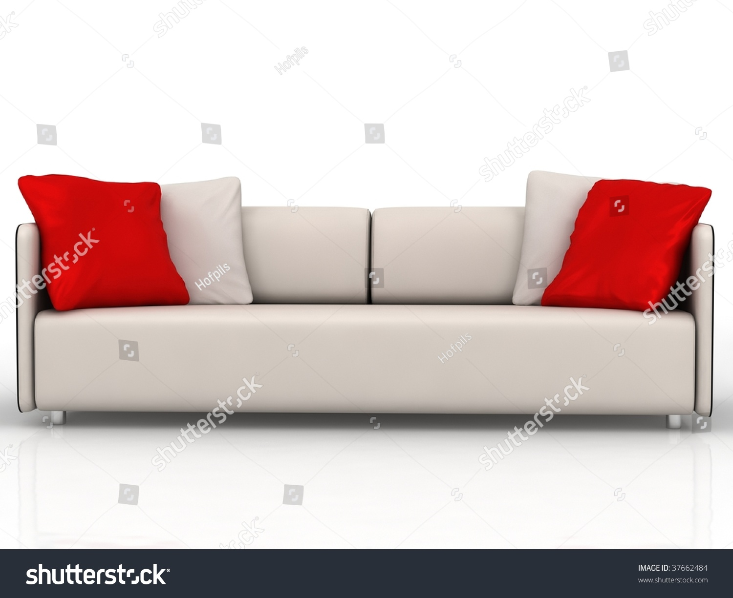 Modern Couch With Red And White Cushions   Isolated On White