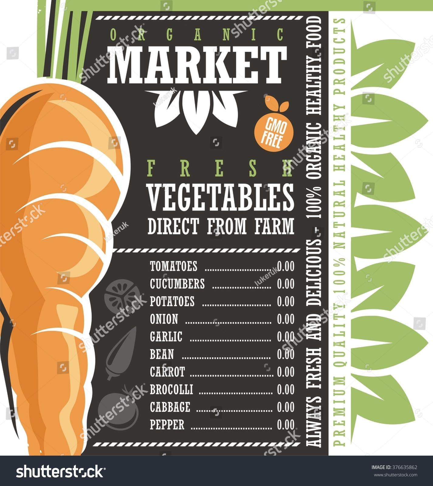 Price for a poster design - Farm Fresh Vegetables Market Organic Natural Healthy Food Creative Price List Design Concept
