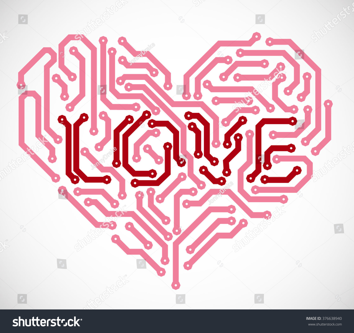 Heart Text Love Made Printed Circuit Stock Vector Royalty Free Red Electrical Board Symbol With From
