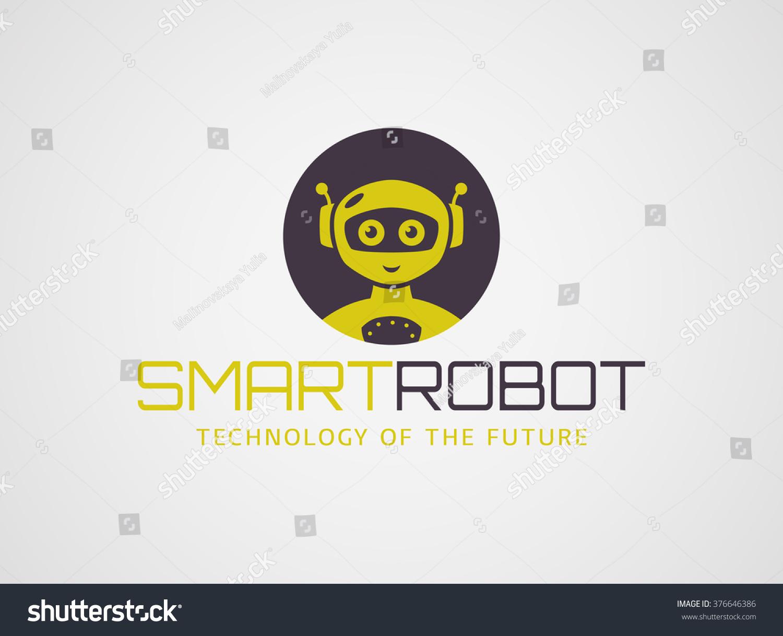 smart robot logo template cute logotype stock vector