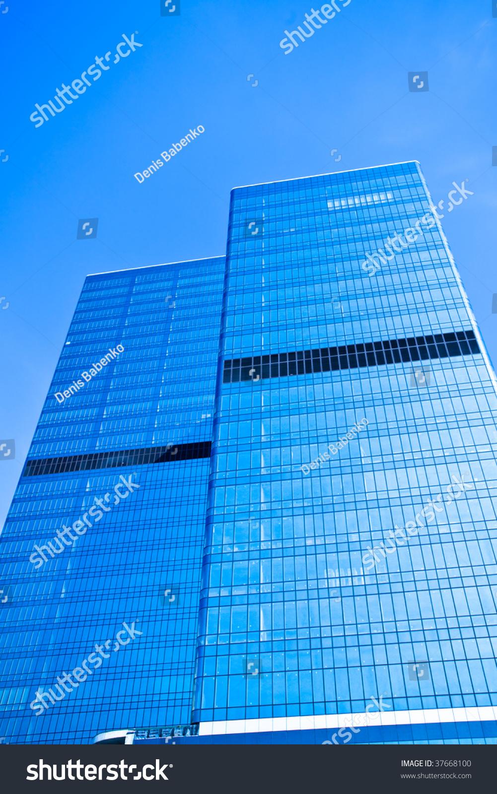 Two Blue Glass Business Skyscraper Stock Photo 37668100