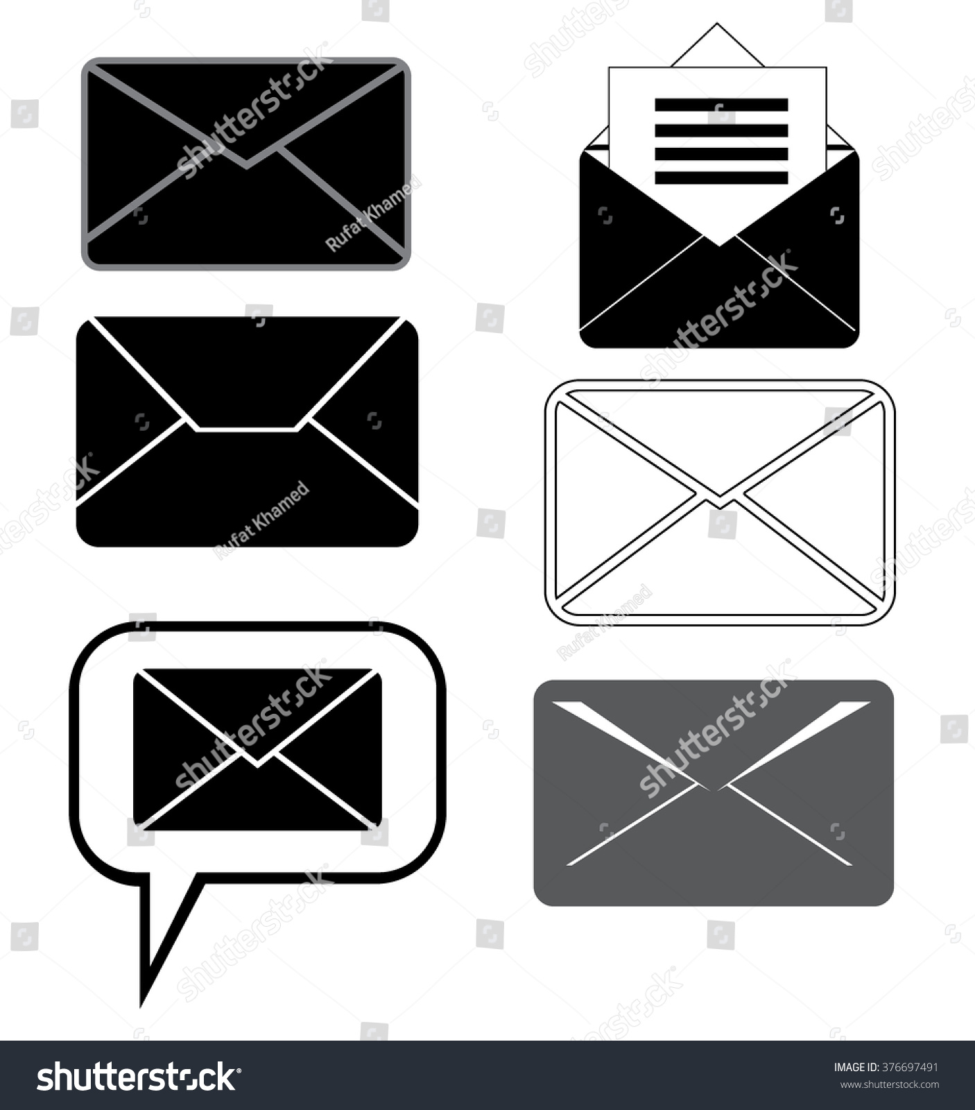 Message Icons Setletter Icon On White Stock Vector Royalty Free