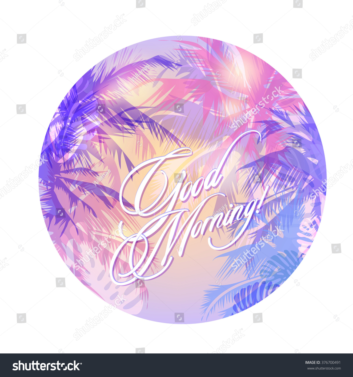 Good morning round tropical background palm stock vector 376700491 good morning round tropical background with palm trees in the gentle morning mist biocorpaavc Choice Image