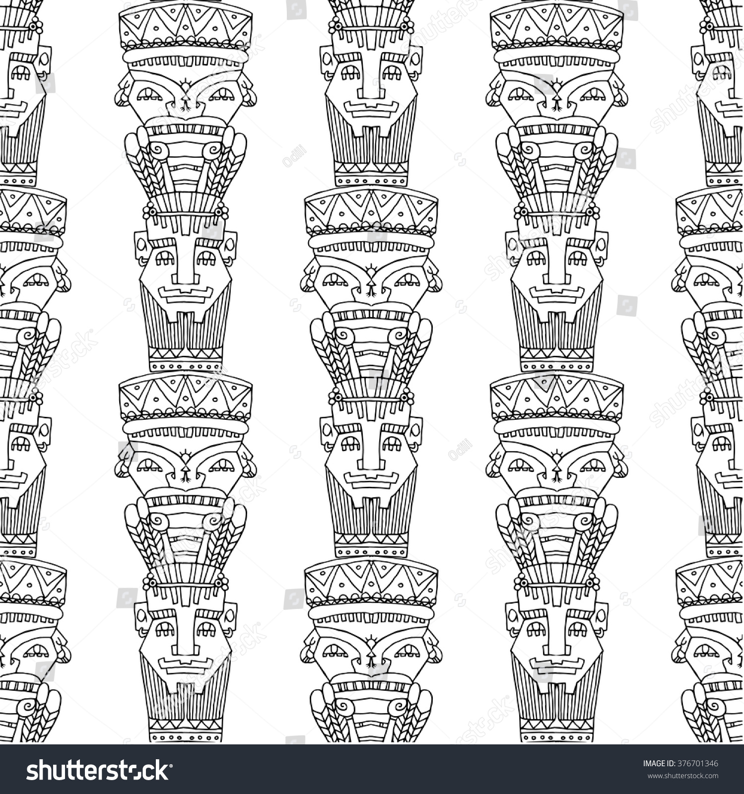 Line seamless pattern aztec totems feather stock vector 376701346 line seamless pattern with aztec totems and feather cover for you design on the ethnic buycottarizona Images
