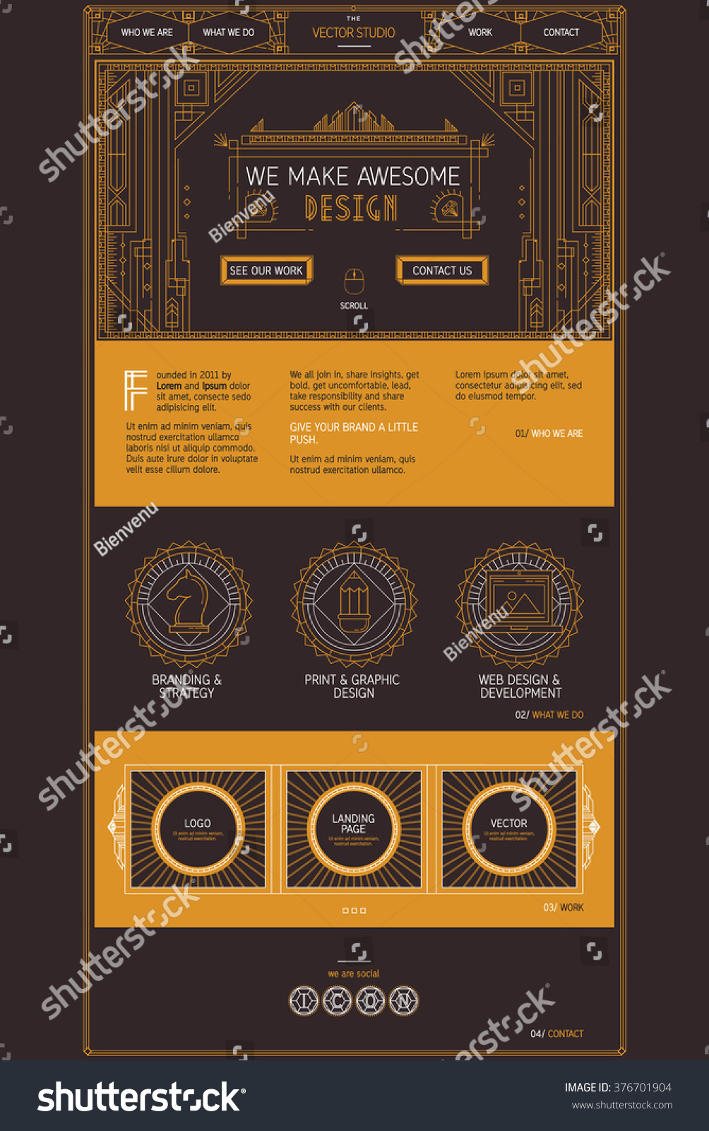 art deco site design template vector website modern
