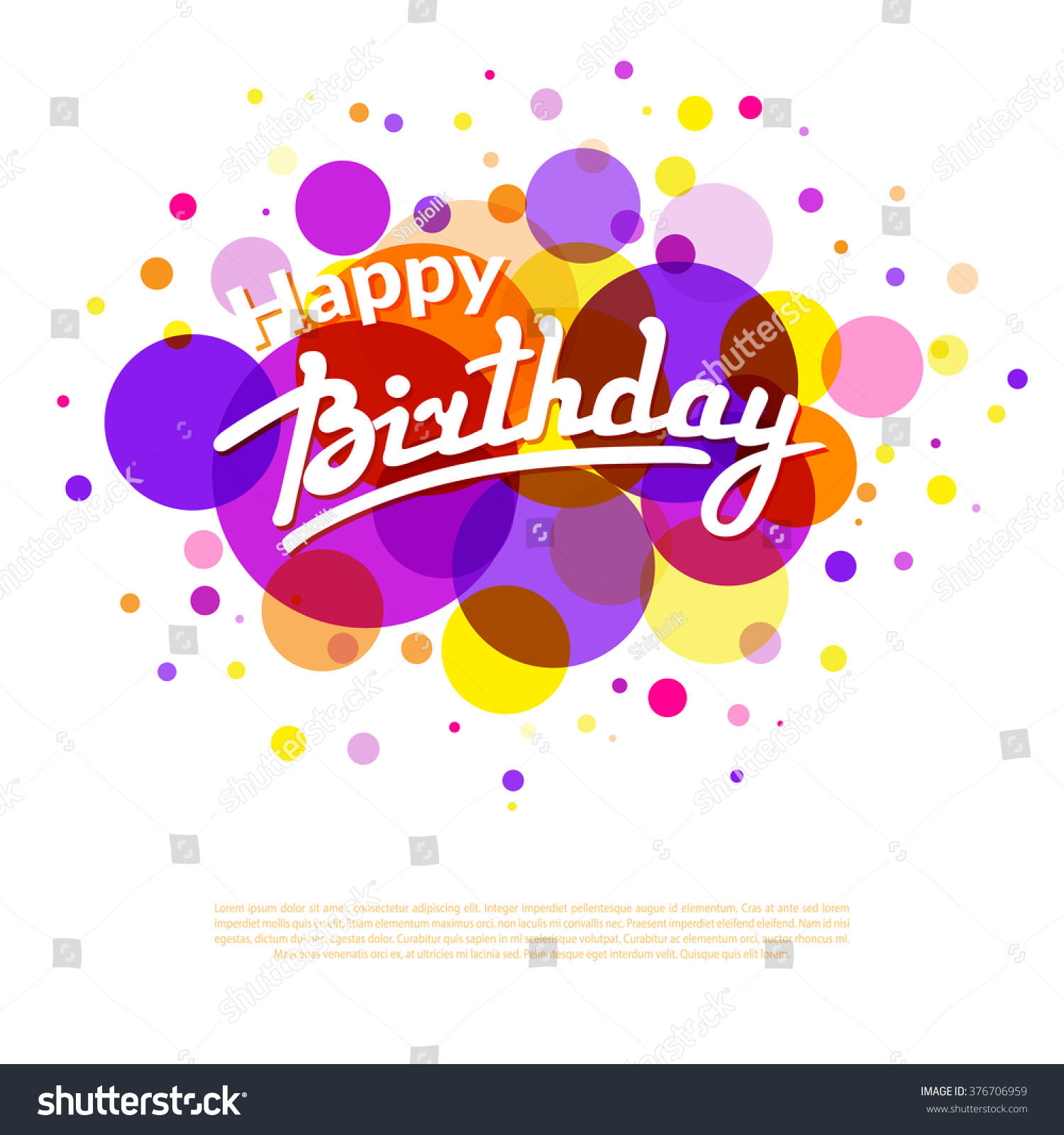 Happy Birthday Greeting Card Template On Background With Colorful Circles  And Textbox  Happy Birthday Word Template