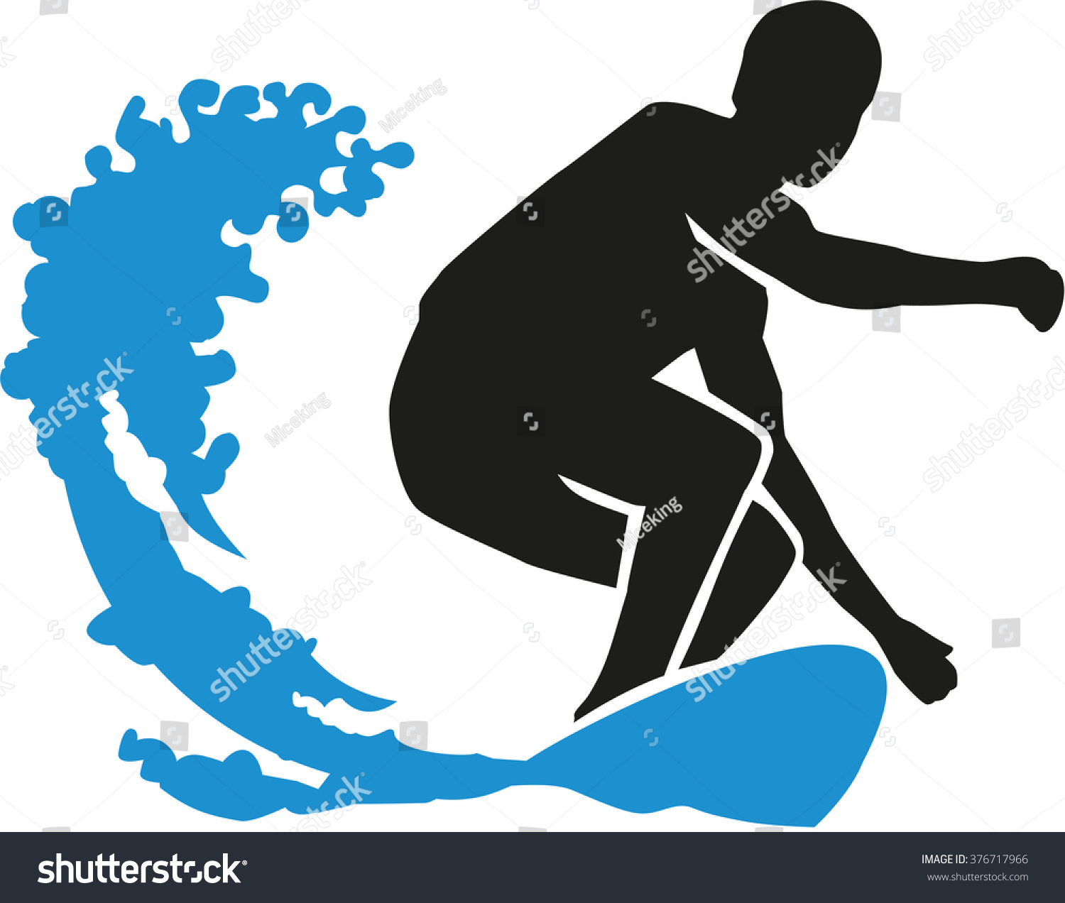 surfer surfing big wave stock vector 376717966 shutterstock rh shutterstock com Waves without Surfers of Movie Champion Clip Art