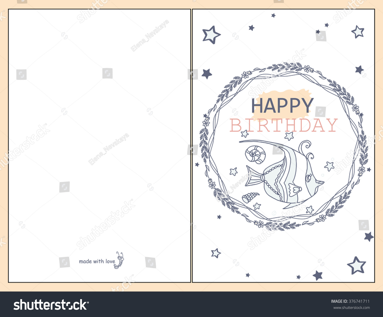 printable simple doodle happy birthday card stock vector, Birthday card