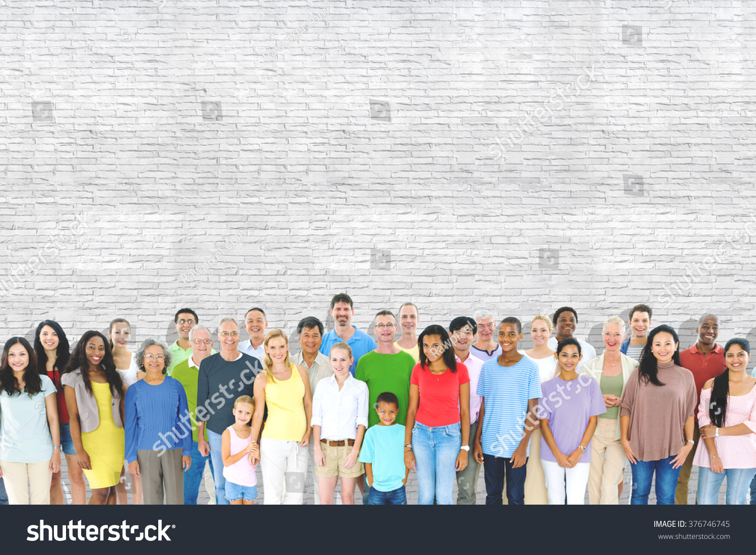 Multiethnic Group Mixed Age People Together Stock Photo ...