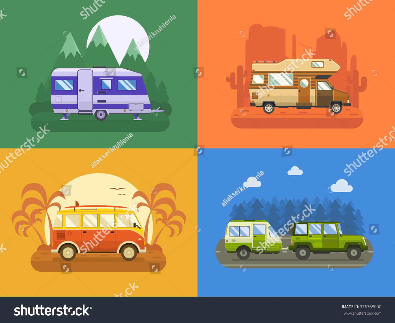 Vectors Illustrations Footage Music RV Travel Concept Set Camping Trailer Family Caravan Collection Traveler Truck Campsite Landscape