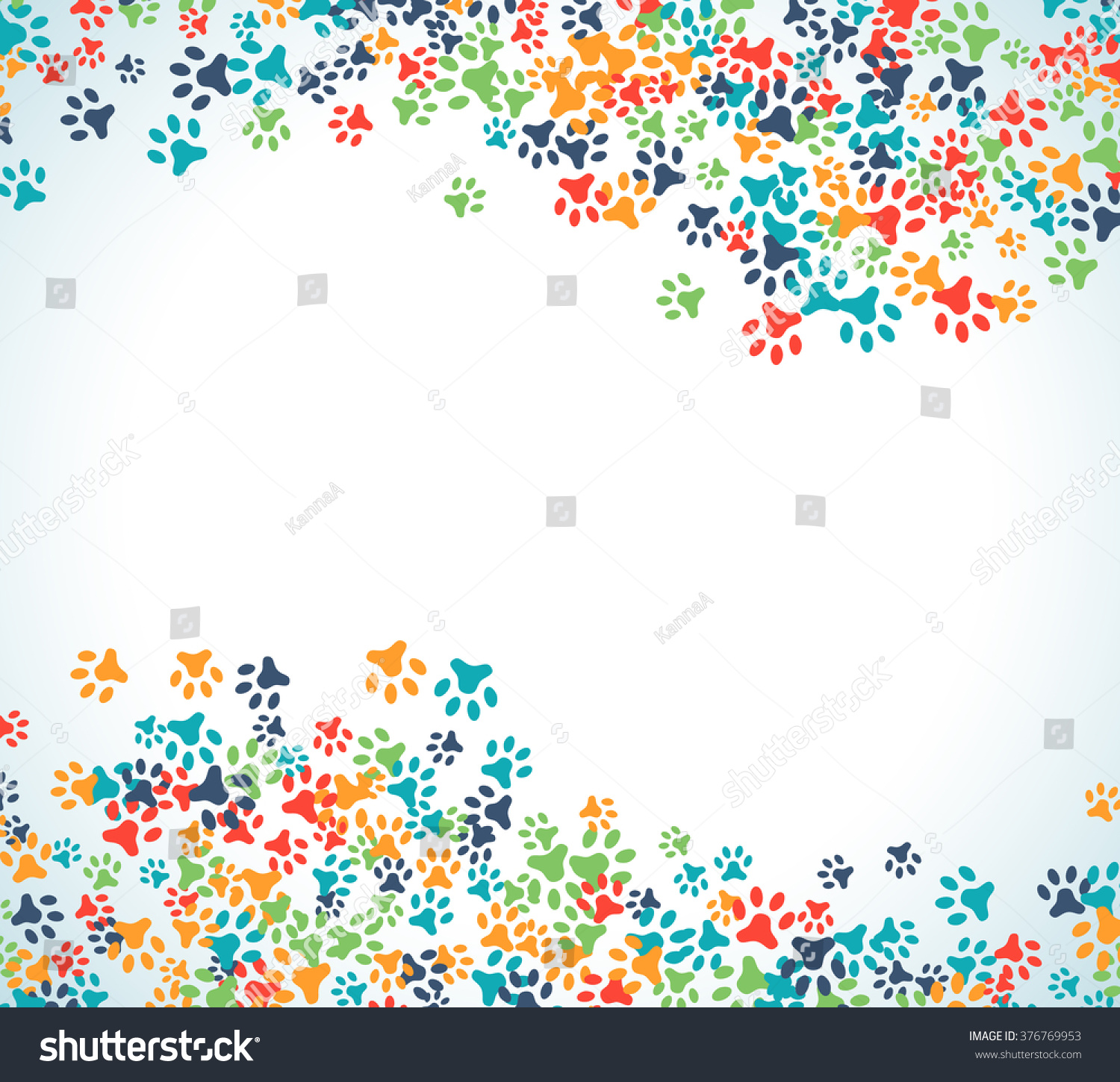 Colorful Animal Footprint Ornament Border Isolated Stock ...