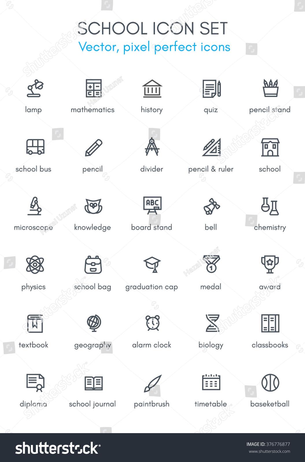 School Theme Line Icon Set Pixel Stock Vector (Royalty Free