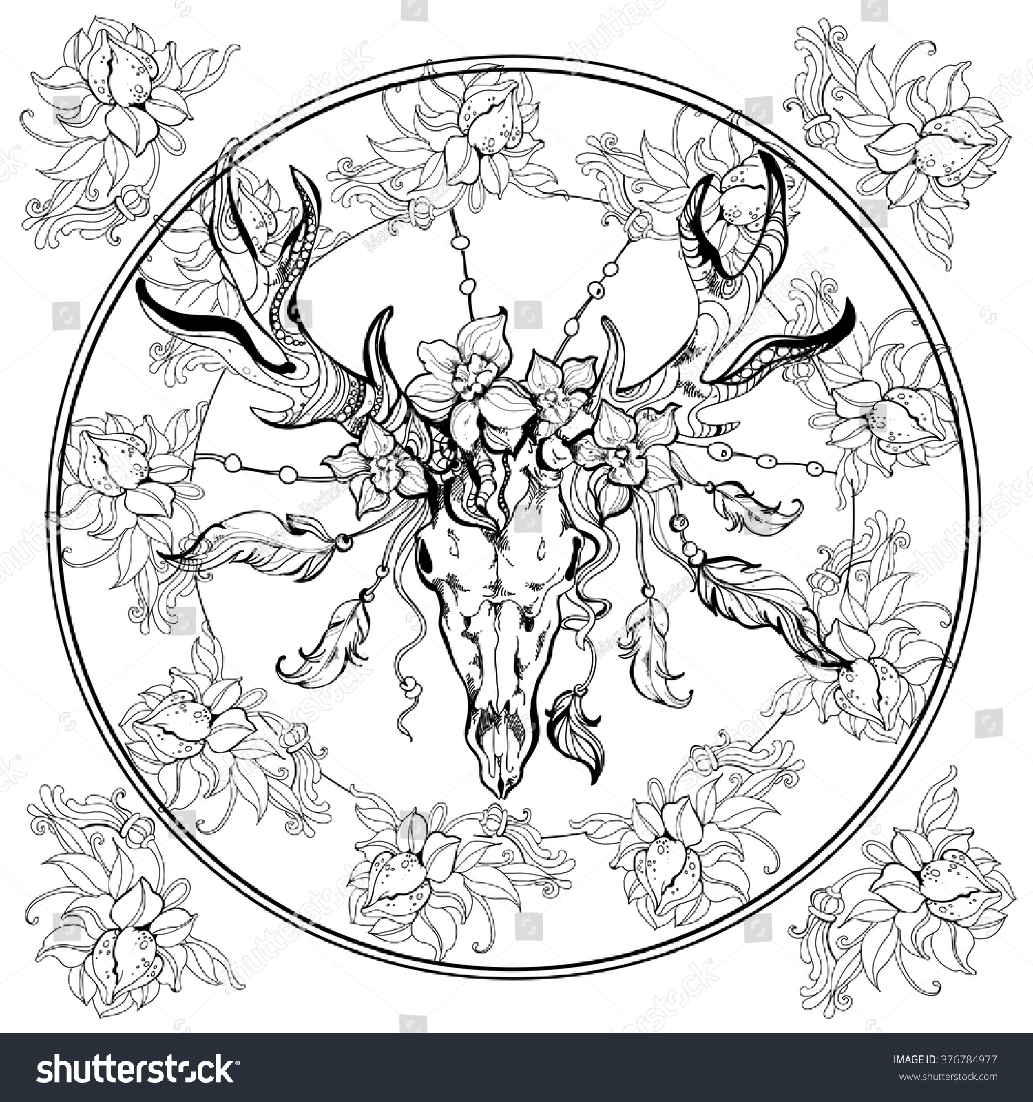 Boho Deer Scull Adult Coloring BookEPS Page Illustration Vector Hand