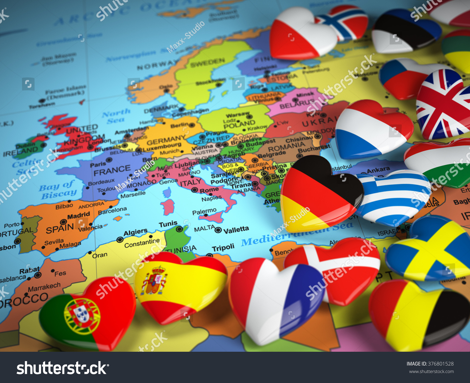 Travel Eu Concept Map Europe Hearts Illustration 376801528 – Europe Map For Travel