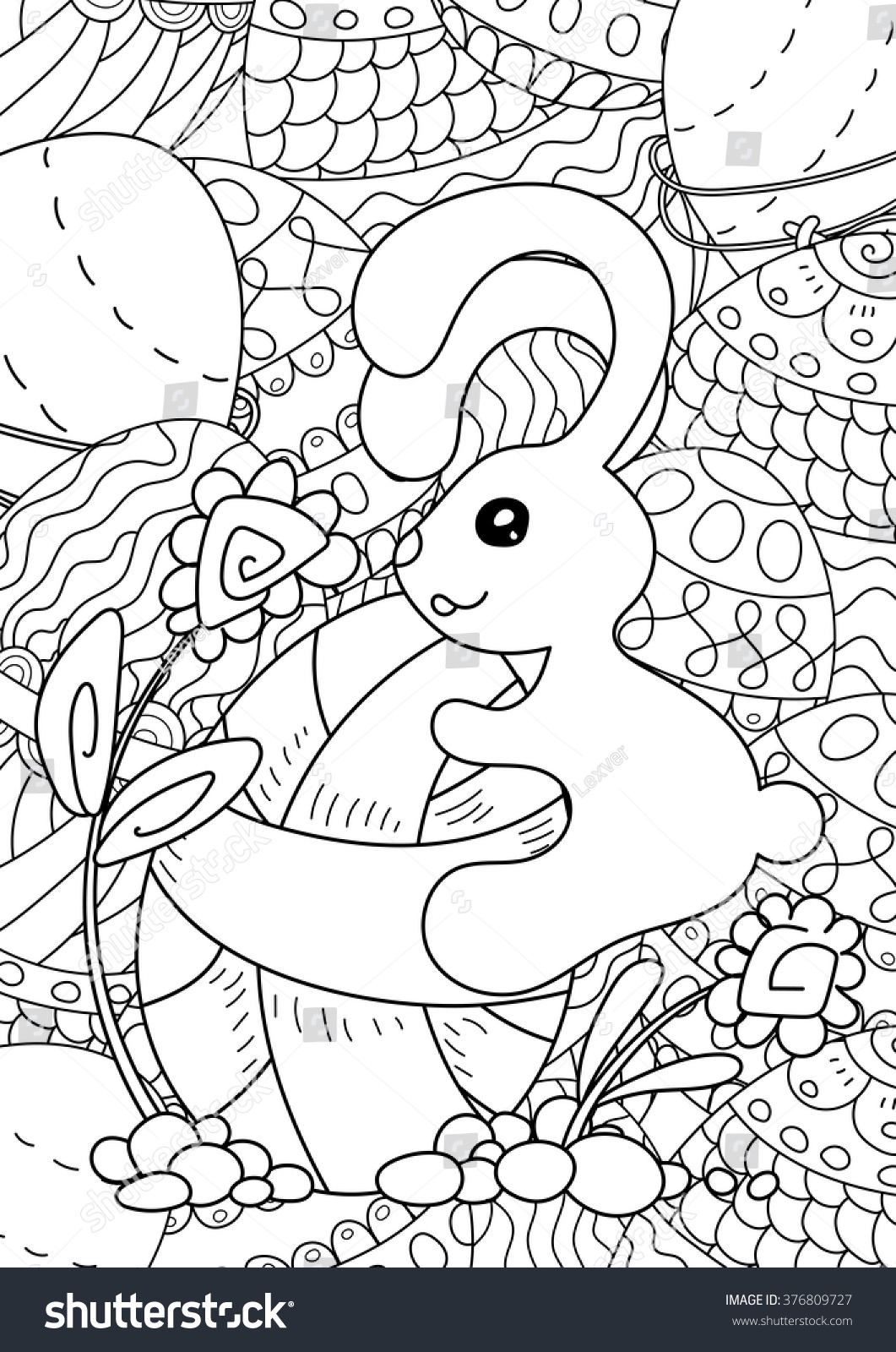 Vector Pattern Happy Easter Coloring Book Stock Vector 376809727 ...