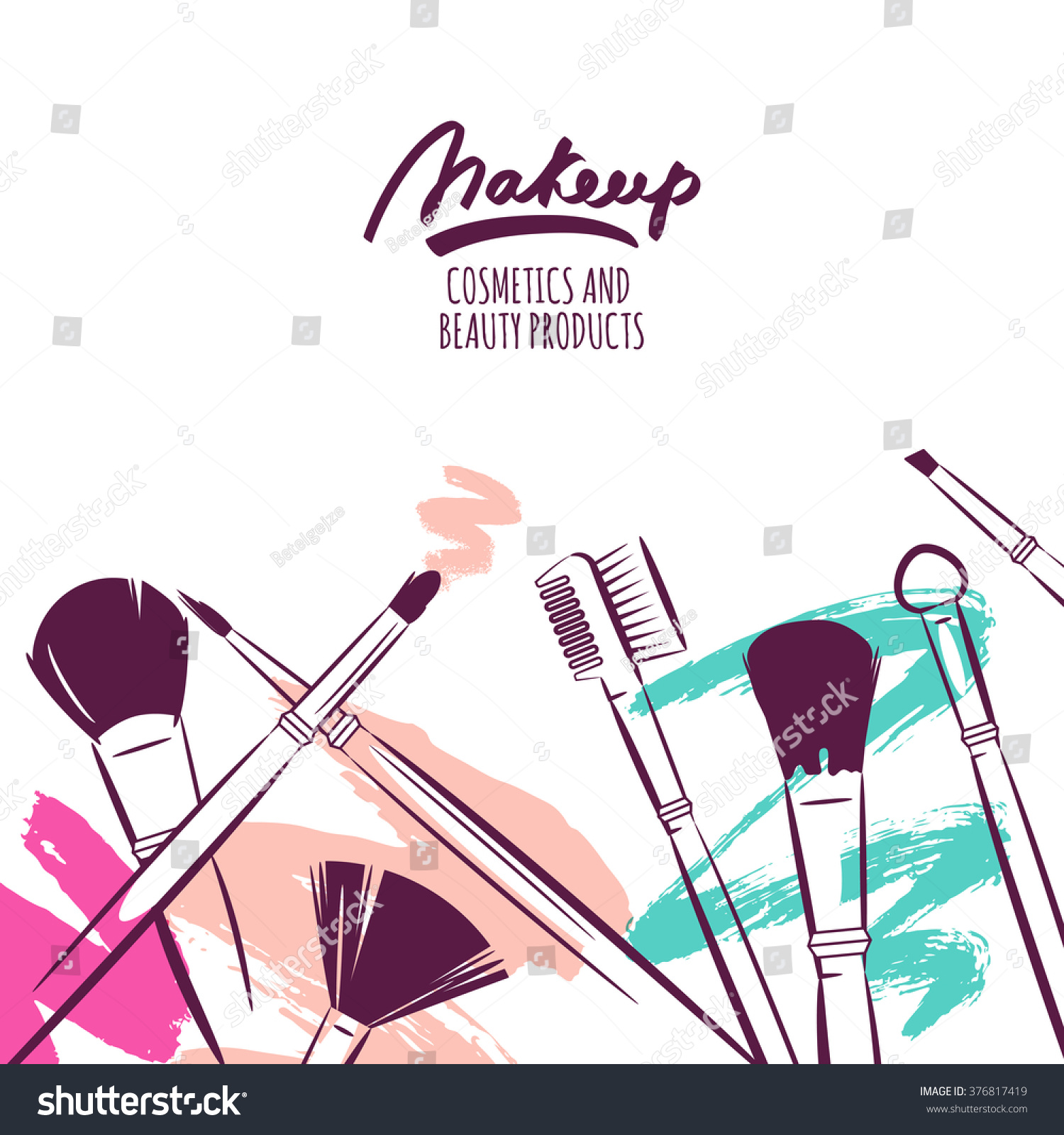 Watercolor hand drawn illustration makeup brushes stock for Abstract beauty salon