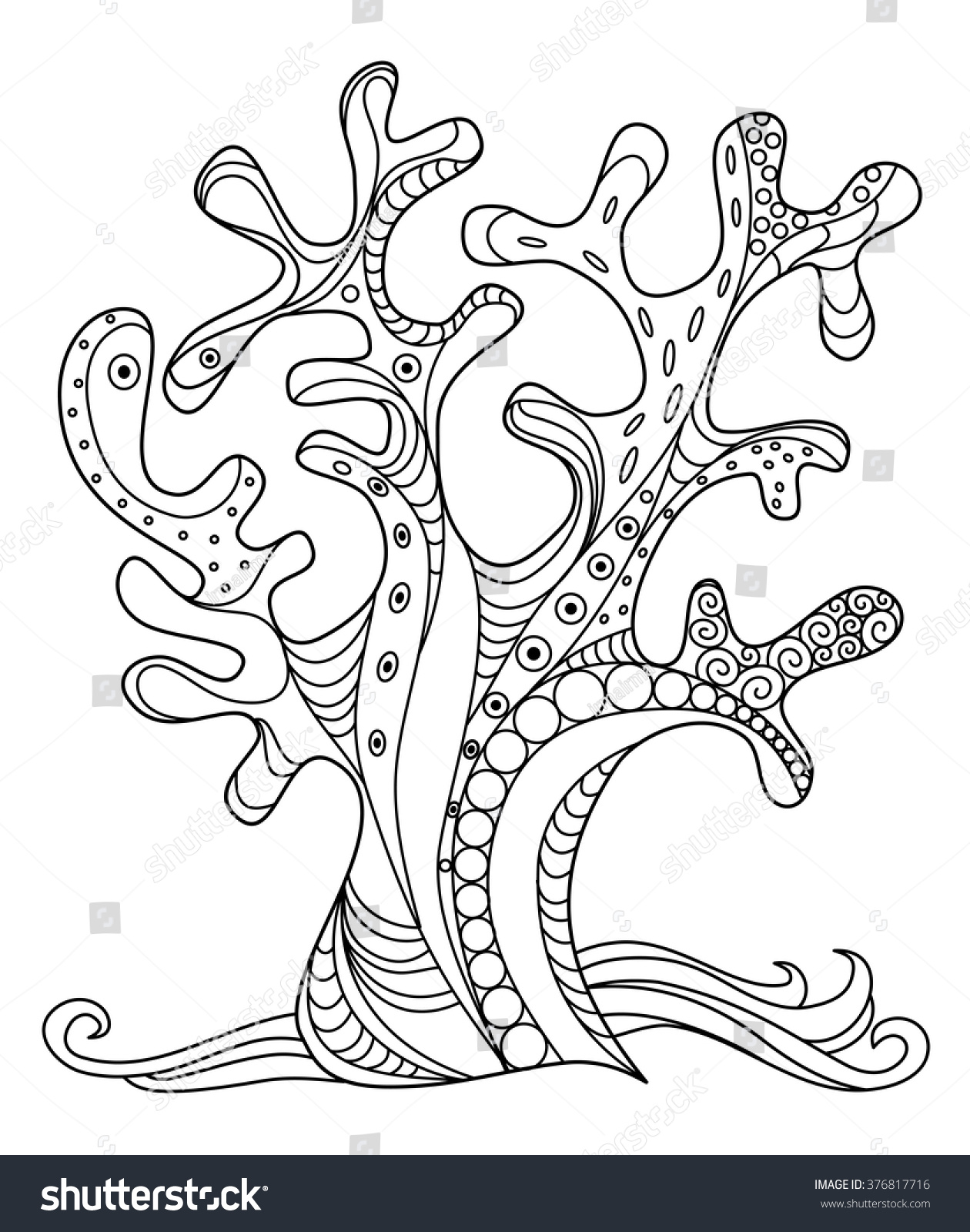 sea coral doodle zentangle hand drawn stock vector 376817716