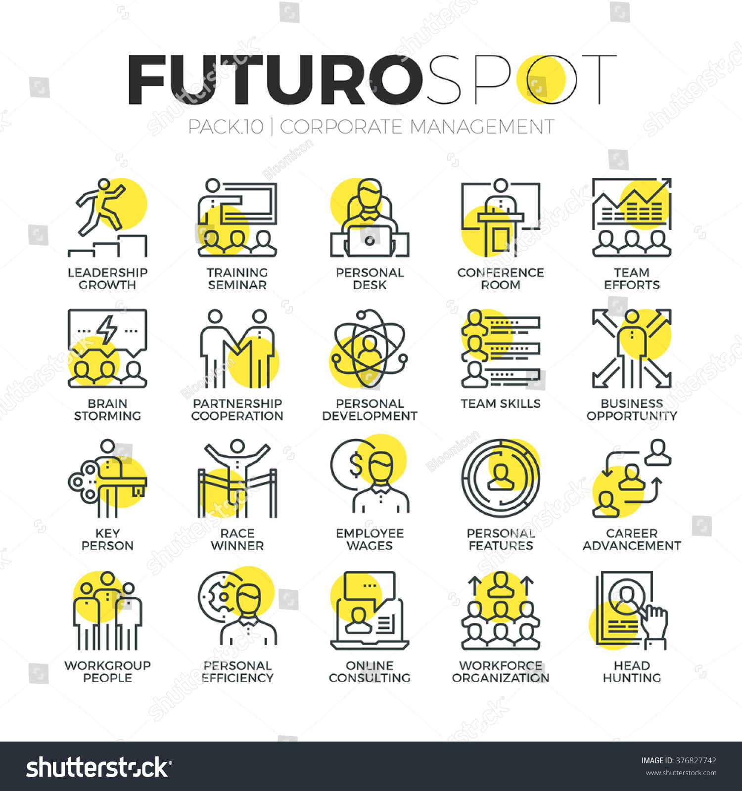 stroke line icons set business leadership stock vector  stroke line icons set of business leadership training and corporate career modern flat linear pictogram
